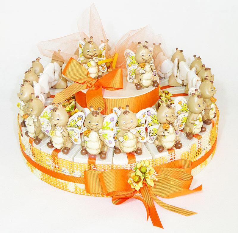 Torte Bomboniere Orange Schmetterlinge Harz 18 Scheiben + Cent Kommunion Taufe