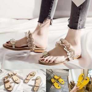 Women-Footwear-Peal-Pineapple-Sandals-Flat-Ruffle-Summer-Beach-Casual-Slippers