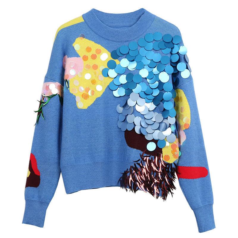Womens bluee Knitted Sweater Short Ladies Knit Winter Long Sleeve Jumper Tops