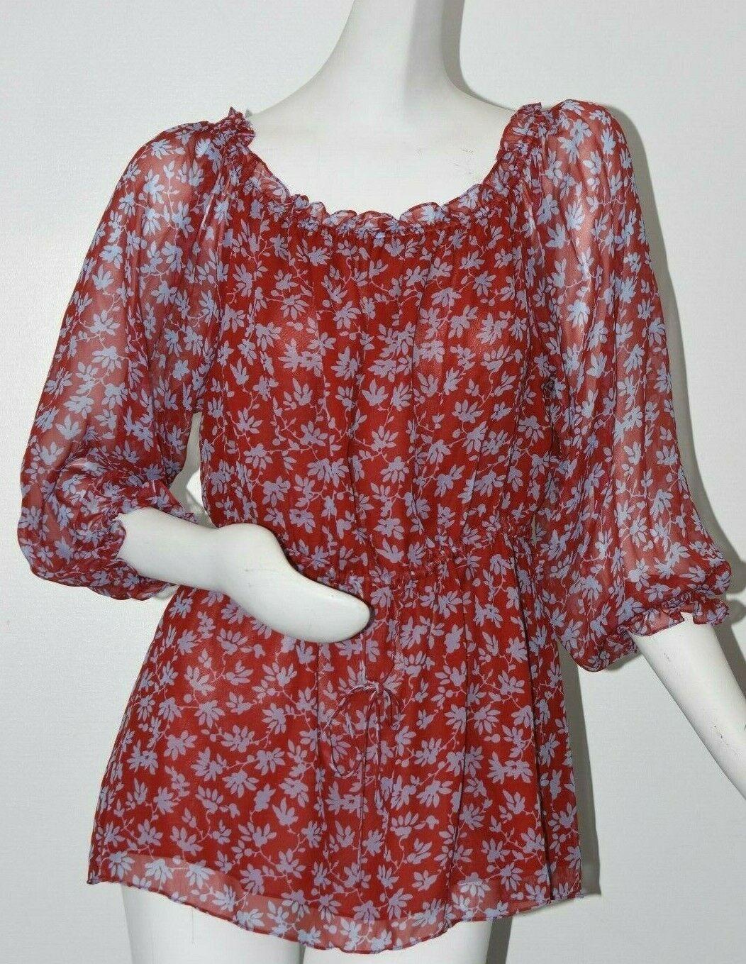 NEW Diane von Furstenberg DVF CAMILA TOP Isly Red Desire bluee SILK 12 14