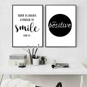 Inspirational Quote Wall Art Canvas Posters Black White Prints Modern Home Decor Ebay