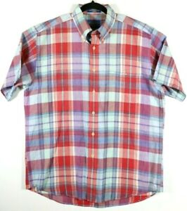 Pendleton-Mens-Size-Large-Oceanside-Short-Sleeve-Plaid-100-Cotton-Button-Collar