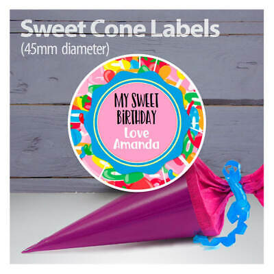 Label Seal Sweet cone. Birthday Party Gift Bag Sticker