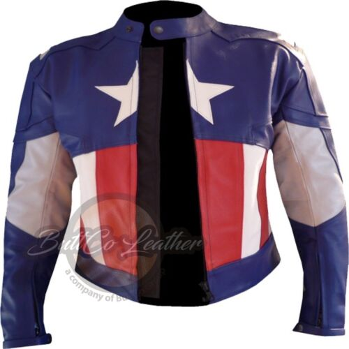 New Avengers Captain America Leather Motorcycle Racing Armoured Biker Jacket