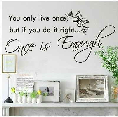 You only live once  Wall Art Decal Quote Words Lettering Decor Home wall Sticker