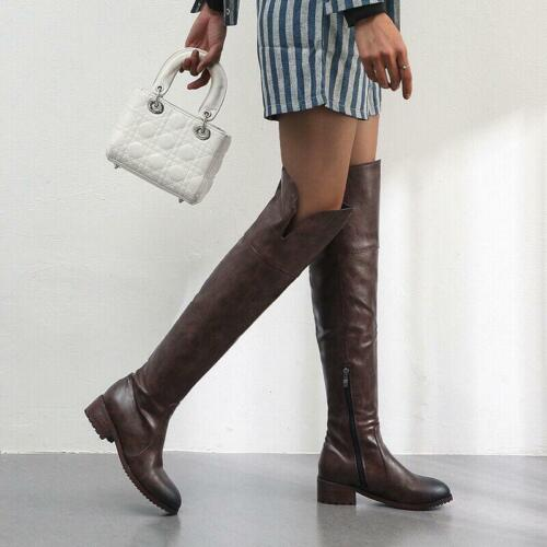 Womens Low Block Heel Riding Motorcycle Thigh High Over The Knee Boots Shoes new