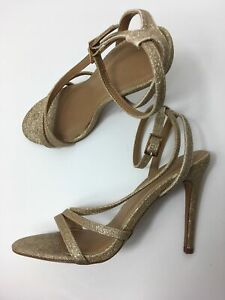 WOMENS-ASOS-GOLD-GLITTER-SHIMMER-STRAPPY-ANKLE-STRAP-HIGH-HEEL-SANDALS-SHOES-UK4