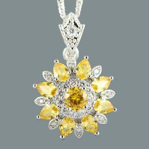 Modeschmuck-Blume-Rund-Gelbe-Citrin-18K-Weissgold-Vergoldet-Anhaenger-Halskette