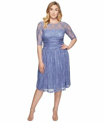 NWT Authentic Plus Size Kiyonna Luna Lace Dress in Slate Blue | eBay