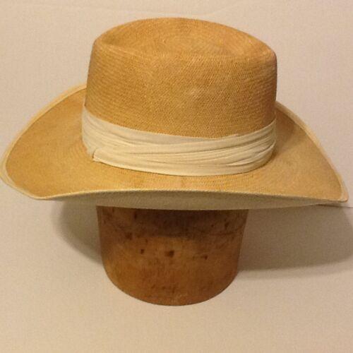 4 of 9 Vintage Dobbs Hat Dobbs Shantung Panama Straw Fedora Hat Sz 6-7 8 b1b3c28cab3e