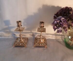 Antique-Victorian-Brass-Candlesticks-Highly-Embossed-Circa-1850