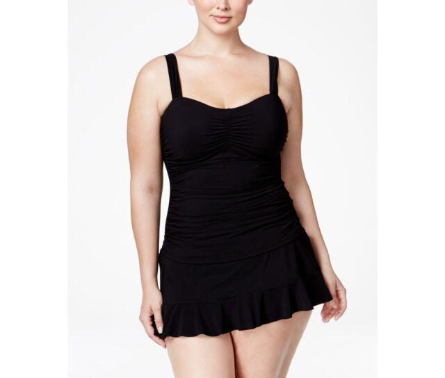 efa906e27d198 Profile Gottex Plus Black Shirred Ruched Underwire Tankini Top E7361w18 18w