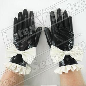 Guantes-latex-corto-Sissy-con-arco-Latex-Gummi-Mitones-Guantes-Handschuhe