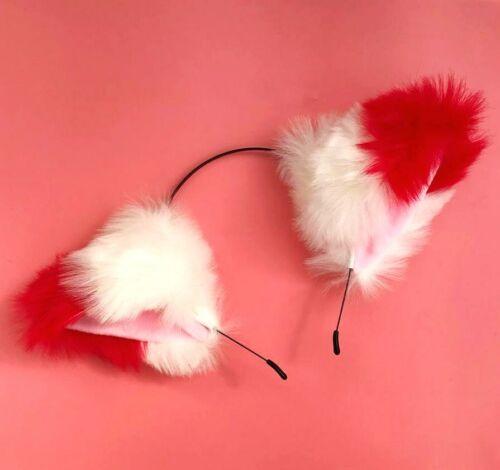 Extra Flauschig Cosplay Katze Ohr Stirnband Groß 2 Farbe Pelzig Fox Ohren