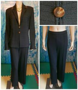 St. John Knits Collection Black Jacket Pants L 14 12 2pc Suit Buttons Rings