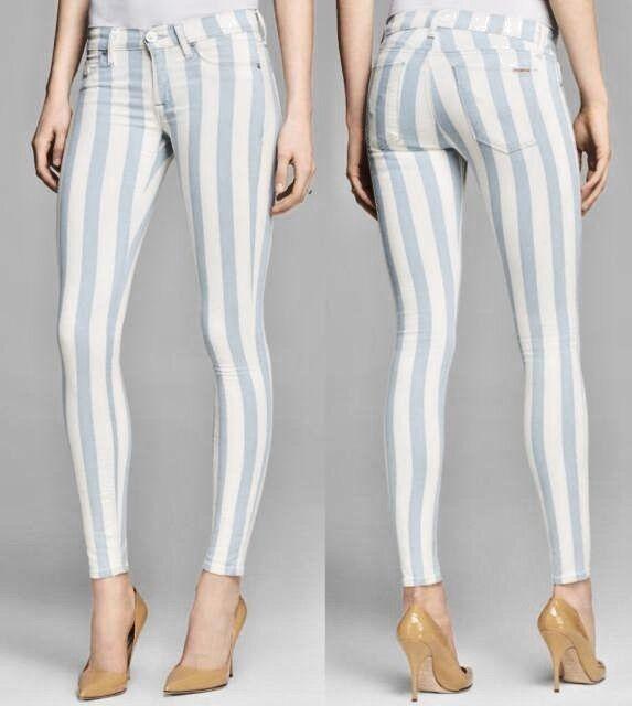 New Hudson Krista Super Skinny Striped Jeans Size 25  189