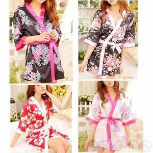 Sexy-Lady-039-s-Lingerie-Sleepwear-Robe-Japanese-Kimono-Costume-Nightgown-Uniform