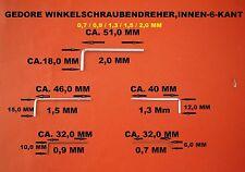 GEDORE WINKELSCHRAUBENDREHER,INNEN-6-KANT (SATZ 5TLG.) 0,7/ 0,9 /1,3 /1,5/2,0 MM