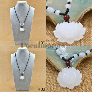 Natural White Jade Lotus Pendant Necklace Fashion Lucky Charm Jewellery New