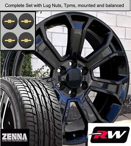 22 Inch Tires >> Details About 22 Inch Wheels And Tires For Chevy Silverado 1500 Replica 5665 Gloss Black Rims