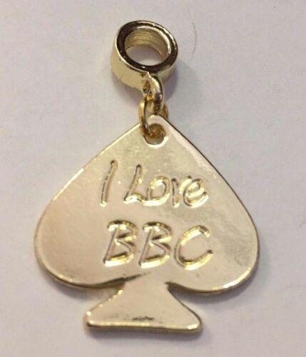 SILVER I LOVE BBC Spade Charm for Anklets Necklace Bracelet etc - BLACK GOLD