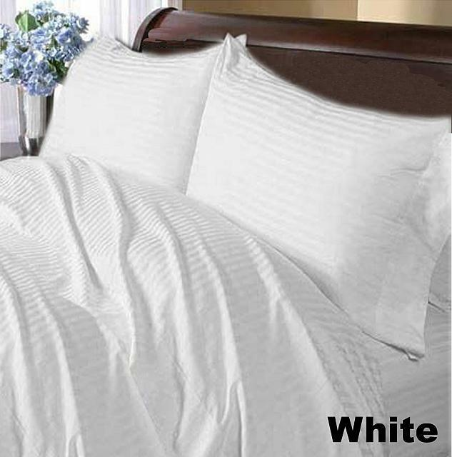 1000 TC Home Bedding Collection 100%Cotton Select Dimensione & Item bianca Striped