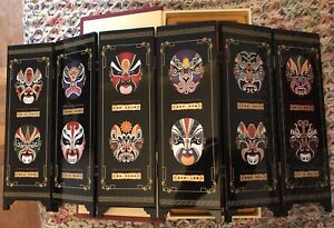 Details about Chinese Mini Table 6 Panel Folding Screen Facial Makeup of Peking Opera lacquer