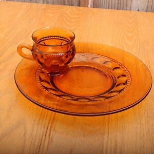 indiana glass amber kings crown thumbprint snack set cup and plate