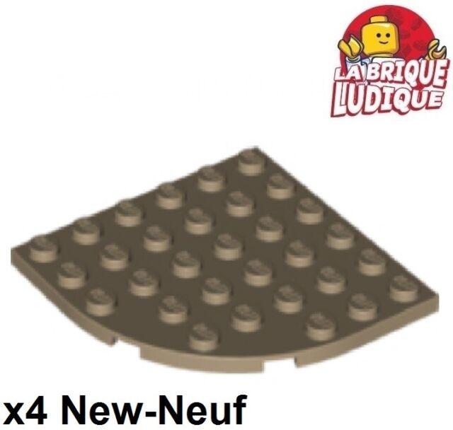 beige dark tan 4 x LEGO 6003 Plaque Coin Arrondi Plate 6x6 Round Corner NEW