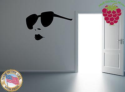 Wall Stickers Vinyl Decal Sexy Hot Girl Full Lips Big Sunglasses Salon EM571
