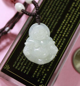 Burmese Gemstone Chinese Vintage Carving Laughing Buddha Jadeite Pendant for Necklace Icy Translucent Natural Grade A Jade Certified