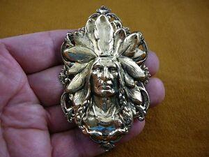 (B-NATIVE-21) Native American Chieftain HEADDRESS oval floral brass Pin Pendant