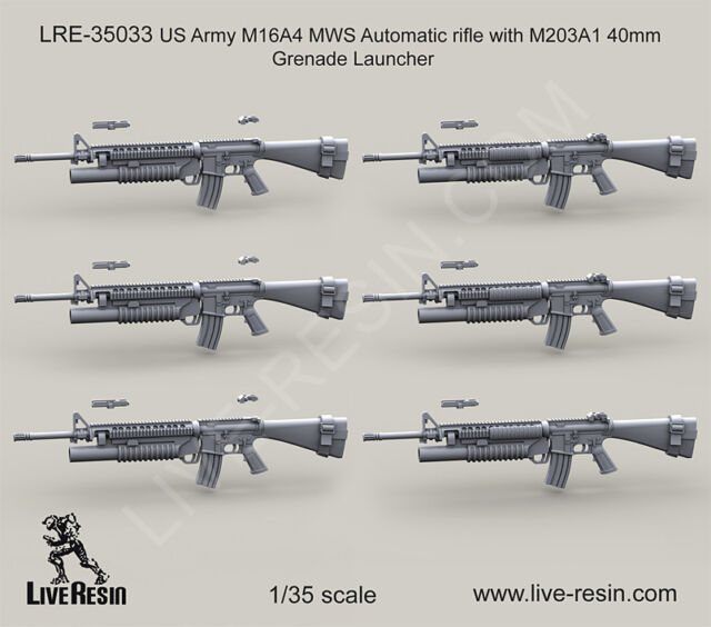 live resin 1 35 lre 35033 us army m16a4 with m203a1 40mm grenade
