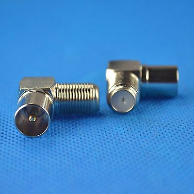 5pcs copper F Coaxial female jack to TV Male Plug right angle Adapter connector
