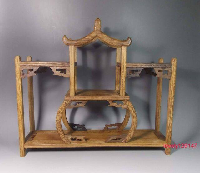 Fine JiChi wood carved stand shelf For netsuke, snuff bottle small statue 01