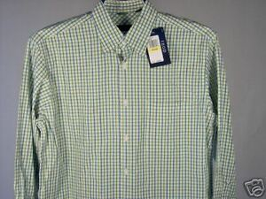 Izod-LS-Shirt-Green-White-Heather-Blue-M-Mens-New