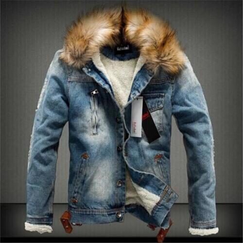 Krave Herre Med Fleece New Jeans Denim Outerwear Jakke Rippet Fur Coat Retro rqwfrxY