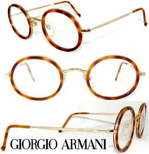 giorgio armani brille 139 gold horn panto rund. Black Bedroom Furniture Sets. Home Design Ideas
