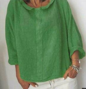 Womens-Flax-Linen-COMFY-Long-sleeve-Tops-Pullover-Blouses-Collar-Summer-Loose-sz
