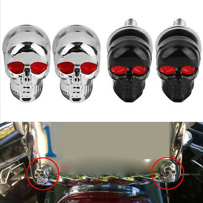 4x Skull License Plate Frame Bolt Screw Fastener Cap Motorcycle Car Truck Auto