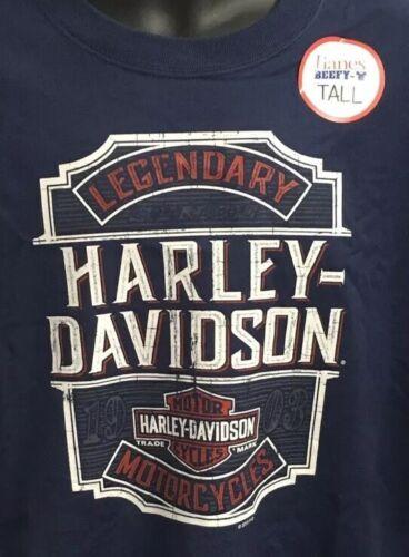 Harley Davidson Men/'s Legendary Carved Sign Short Sleeve Shirt TALL Blue R003248