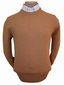Sweater-Men-039-s-L-Wool-Blend-Crewneck-Brown-Imported-From-Italy