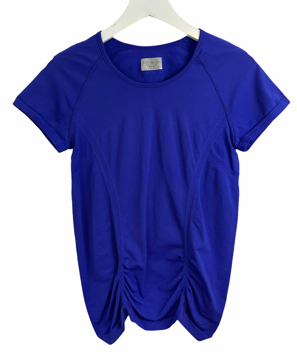 Athleta Women's Blue Fast Track Short Sleeve Shirt Ruched Top Athletic Size M