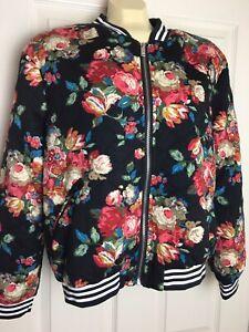 Umgee-Quilted-Boho-Floral-Bomber-Jacket-Multi-Color-Size-Medium