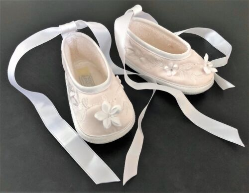 "4.25/"" Sarah Louise Girls Christening Shoe Size 2 3-6m Ivory or White"