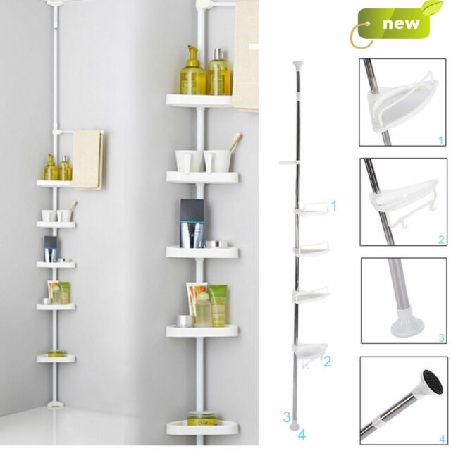 Attrayant NON RUST BATHROOM TELESCOPIC CORNER SHELF STORAGE 4 TIER SHOWER CADDY  ORGANISER