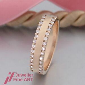 moderner-Brillant-Ring-28-Brillanten-Diamant-ges-ca-0-45ct-14K-585-Gelbgold