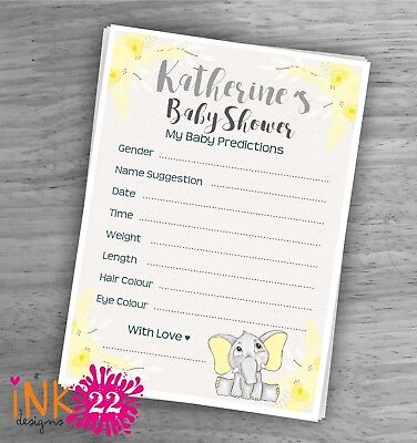 Personalised Baby Shower Card Games pack /'Elephant/'  Party x10 Baby Predictions