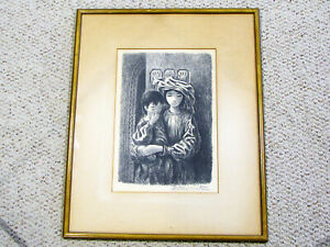 FLETCHER-MARTIN-PENCIL-SIGNED-LITHO-PRINT-YOUNG-WOMAN-amp-CHILD