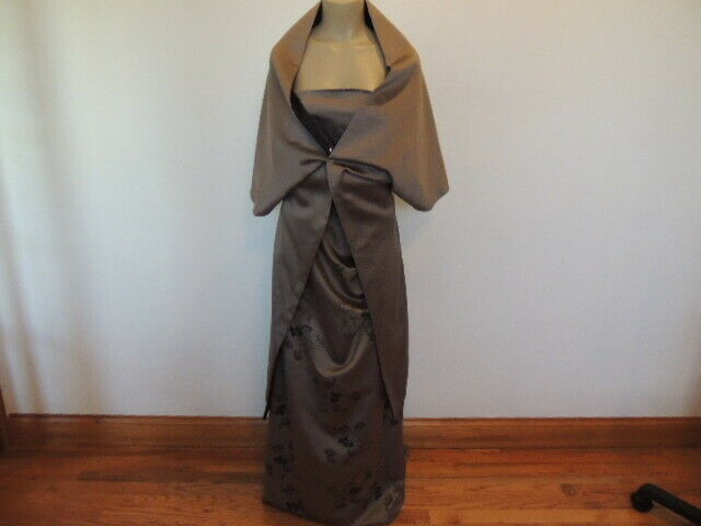 Tom Barra Collection size 14 beige & black shawl & long dress